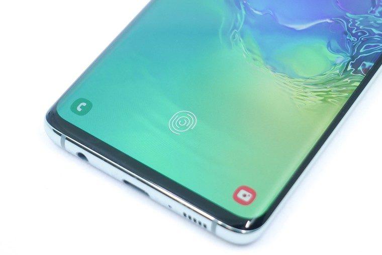 Galaxy S10 画面内指紋センサー